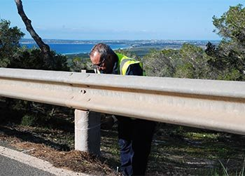 Highway maintenance services replace 300 protective fence posts along Formentera's roads